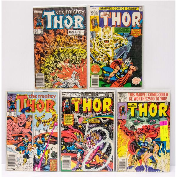 LOT OF 5 MARVEL COMICS THE MIGHTY THOR