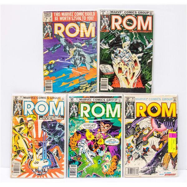 LOT OF 5 MARVEL COMICS ROM