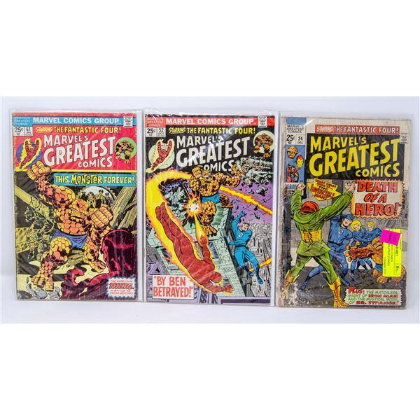 LOT OF 3 MARVEL COMICS MARVEL'S GREATEST COMICS