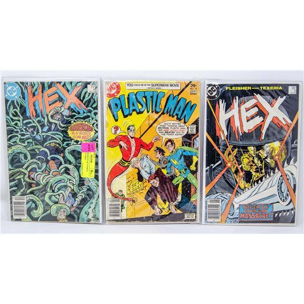 LOT OF 3 ASSORTED DC COMICS HEX, PLASTIC MAN