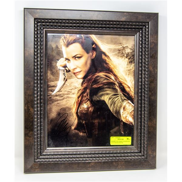 FRAMED THE HOBBIT EVANGELINE LILLY SIGNED POSTER