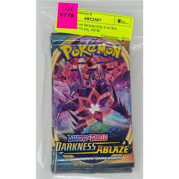 POKEMON x4 BOOSTER PACKS, BATTLE STYLES, NEW