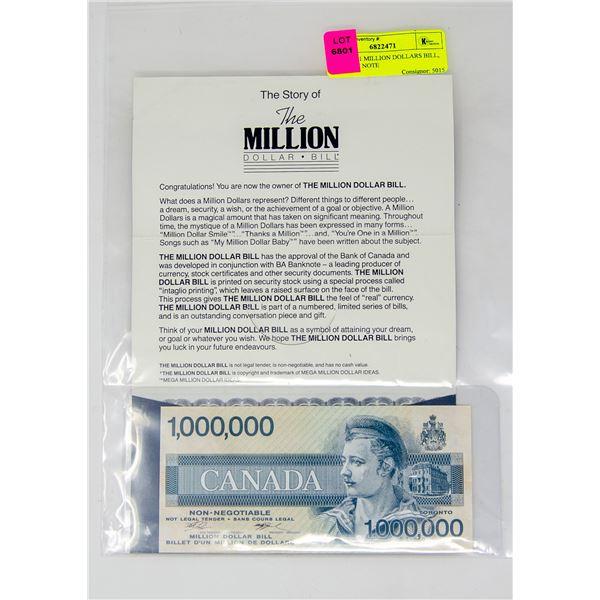 CANADA 1 MILLION DOLLARS BILL, NOVELTY NOTE
