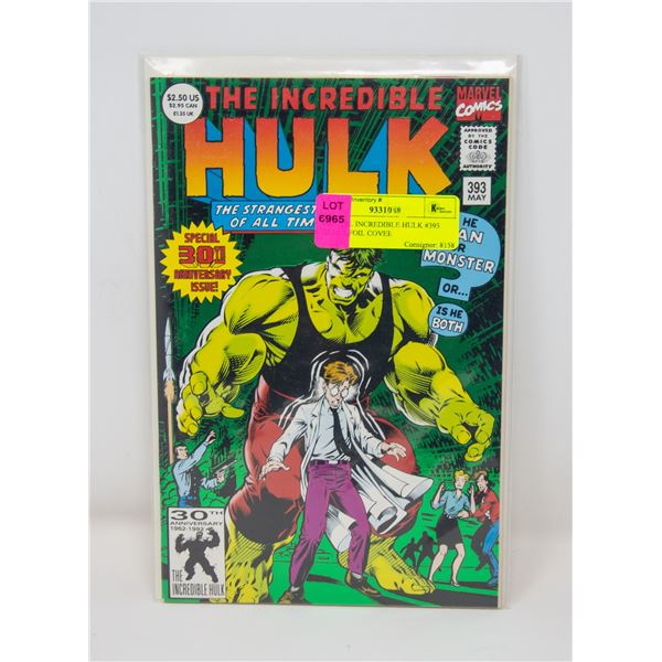 MARVEL INCREDIBLE HULK #393 GREEN FOIL COVER