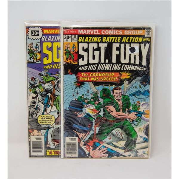 MARVEL SGT. FURY #134 AND 135 COMIC LOT