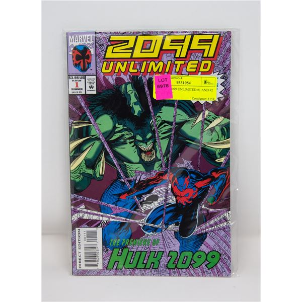 MARVEL 2099 UNLIMITED #1 AND #2 COMIC LOT