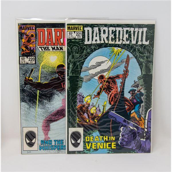 MARVEL DAREDEVIL #220 AND 221 COMIC LOT