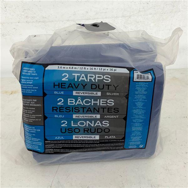 Heavy Tarp, 12' X 16' (3.6m X 4.8m) 2/ Bag, New