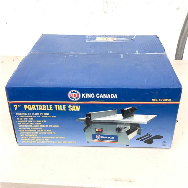 """King Canada KC-3003N Portable 7"""" Tile Saw, New"""