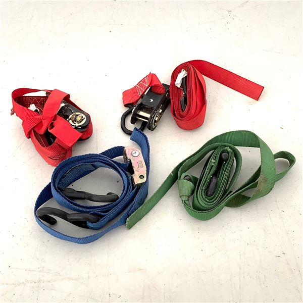 Ratchet Straps, 2 Red, 1 Green and 1 Blue