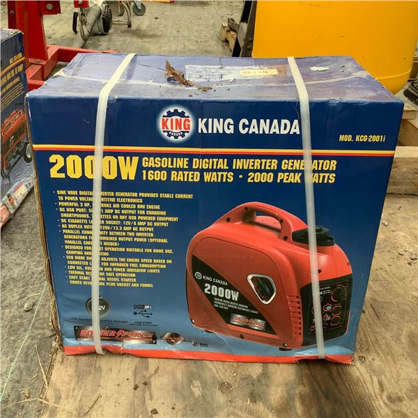 King Canada KCG-2001i 2000 W Gasoline Digital Inverter Generator, New