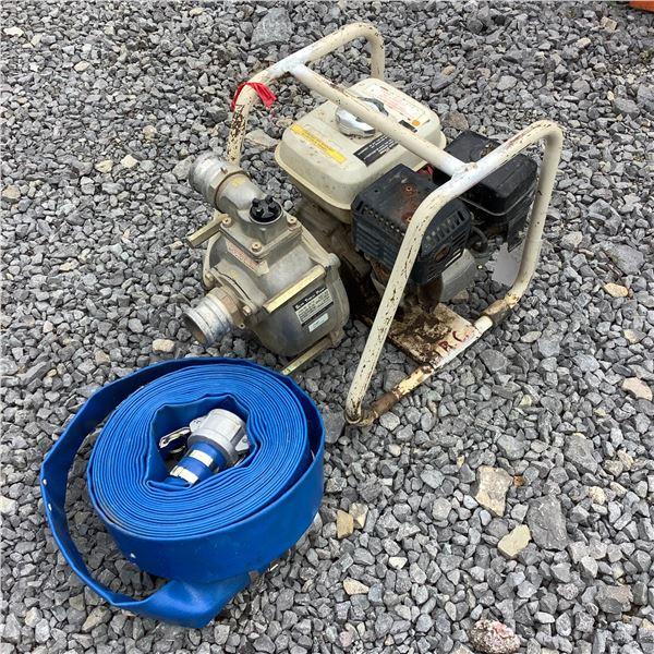 "Gasoline Run 2"" Water Pump W Discharge Hose and Honda GX 120 Motor"