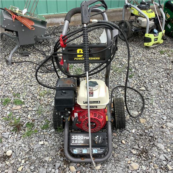 BE Gasoline 3200 psi, 2.8 gpm Power Washer W Honda GX 200 Motor