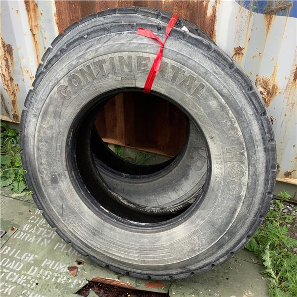 1 Continental and 1 Goodyear 11R22.5 Tire With Michelin Retreads