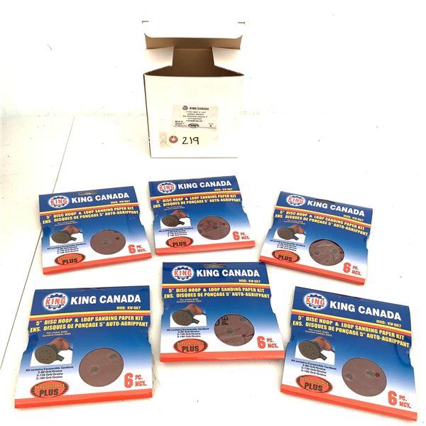 "King Canada 5"" Disc Hoop and Loop Sanding Paper Kit KW-067, X 6, New"