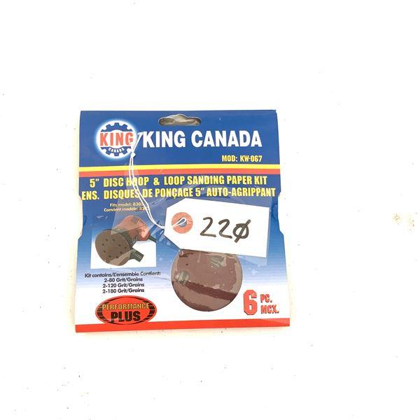 """King Canada 5"""" Disc Hoop and Loop Sanding Paper Kit KW-067, New"""