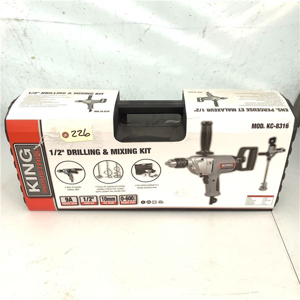 """King Industrial 1/2"""" Drilling and Mixing Kit, Model KC-8316, New"""