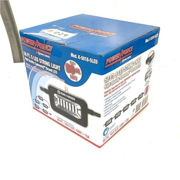 Power Force 50' 5 LED String Light, Model K-5018-5LED, New