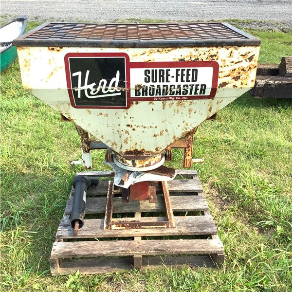 Herd Broadcast Seeder, Model 5.5S for 3-Point Hitch Mount, PTO Driven
