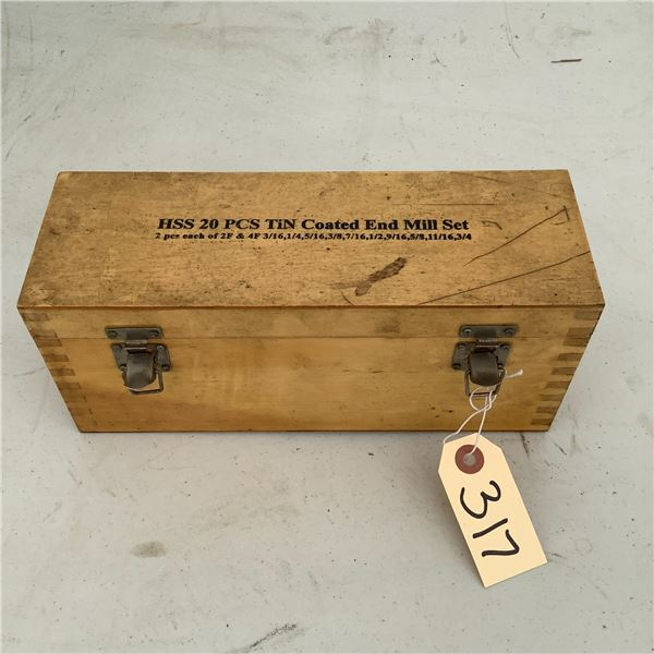 HSS Tin Coated End Mill Set, 18 Piece