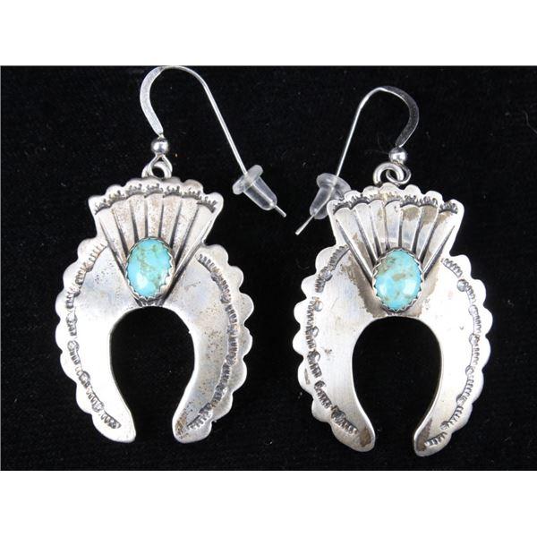 Navajo Turquoise & Silver Squash Blossom Earrings