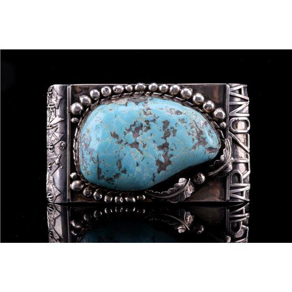 Navajo Turquoise 525.5ct & Sterling Arizona Buckle