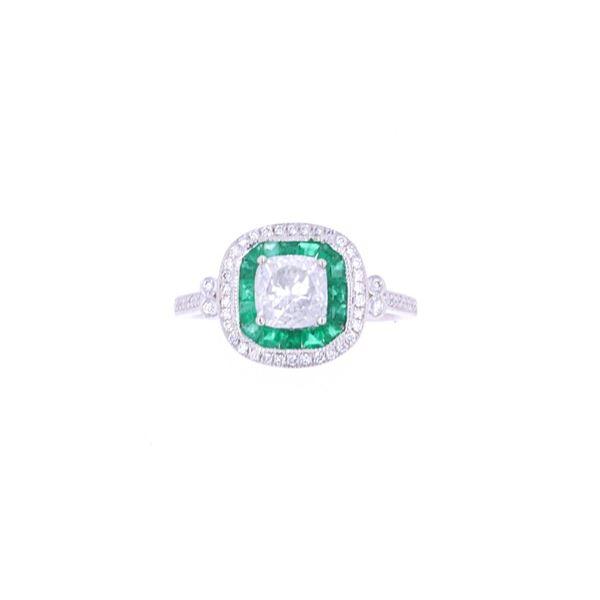 Double Halo Emerald & Diamond Platinum Ring