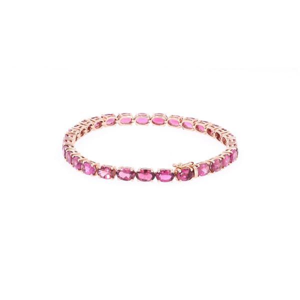 Pink Tourmaline & 14k Rose Gold Tennis Bracelet