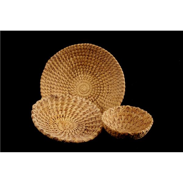 Collection of Three Papago Wheat Stitch Baskets