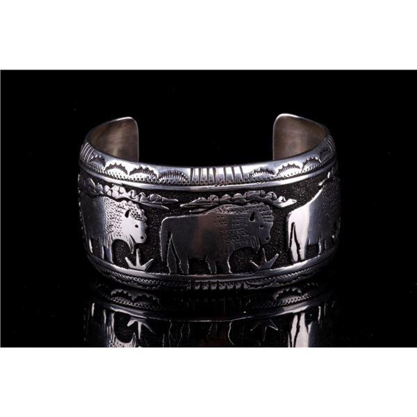 Navajo T&R Singer Sterling Storyteller Bracelet