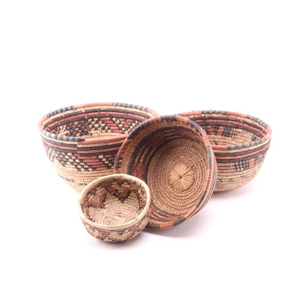 Hand Woven African Harvest Baskets Collection of 4