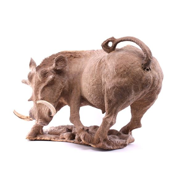 South African Leadwood Warthog Carving by L. Nkala