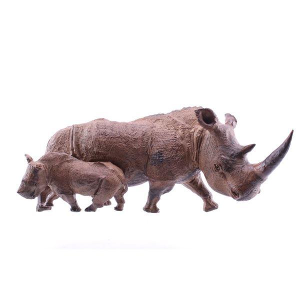 South African Leadwood White Rhino & Rhino Calf