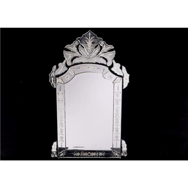 Art Nouveau Floral Etched Venetian Style Mirror