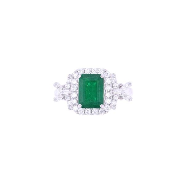 Opulent Ribbon Emerald & Diamond Platinum Ring
