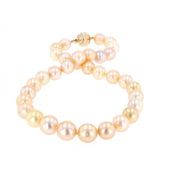 Rare Natural Golden South Sea Pearl 14k Necklace