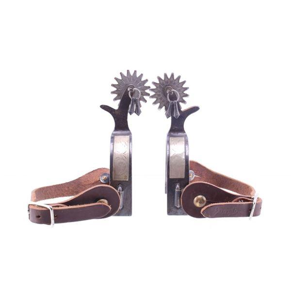 Cowboy Custom Silver Engraved Jingle Bob Spurs