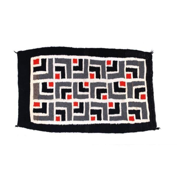 Navajo Ganado Stepped Pattern Wool Rug c. 1950s