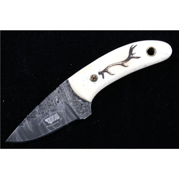 M.T. Knives Elk Antler Scrimshaw Damascus Knife