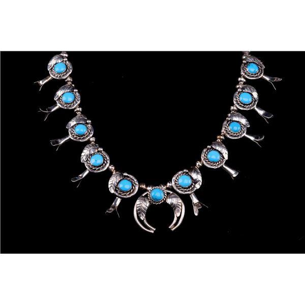 Navajo Sleeping Beauty Turquoise Squash Blossom