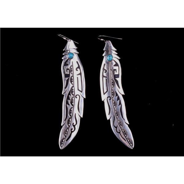 Navajo T & R Singer Silver Turquoise Earrings