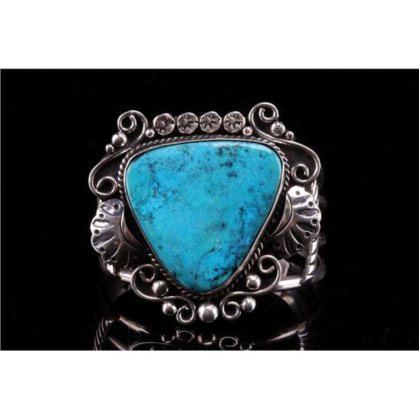Navajo Henry Baca Silver Turquoise Bracelet