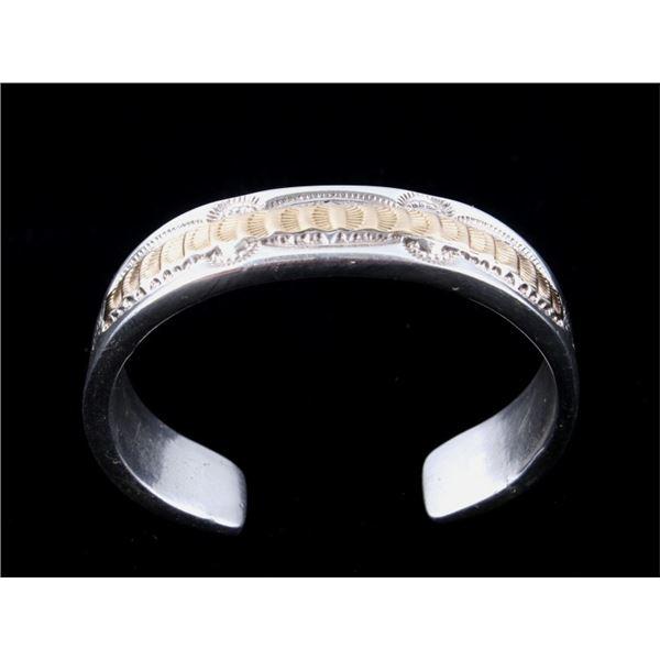 Navajo 14K Gold & Sterling Silver Tooled Bracelet