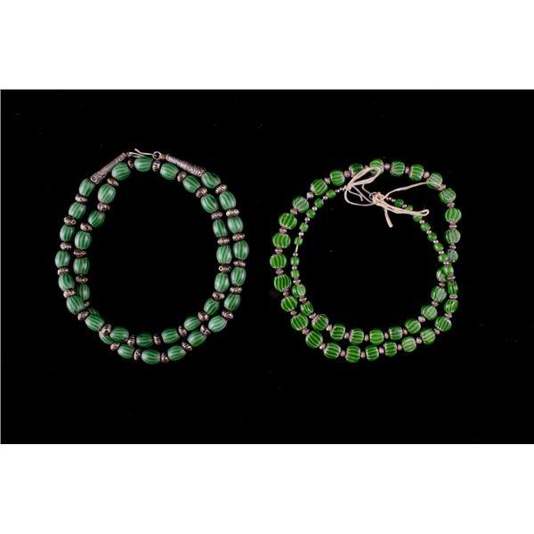 Watermelon Chevron Trade Bead & Silver Necklaces