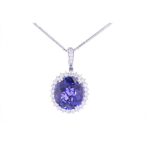 20.46ct AAA+ Tanzanite & Diamond Platinum Necklace