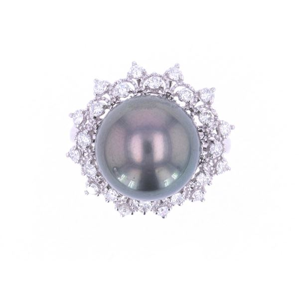 Scarce Black Tahitian Pearl Diamond Platinum Ring