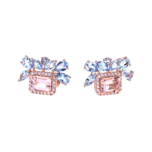 Morganite & Aquamarine Diamond 14k Gold Earrings