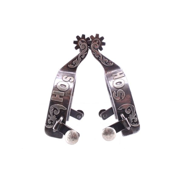 Personalized Silver Overlay SB Star Spur Pair