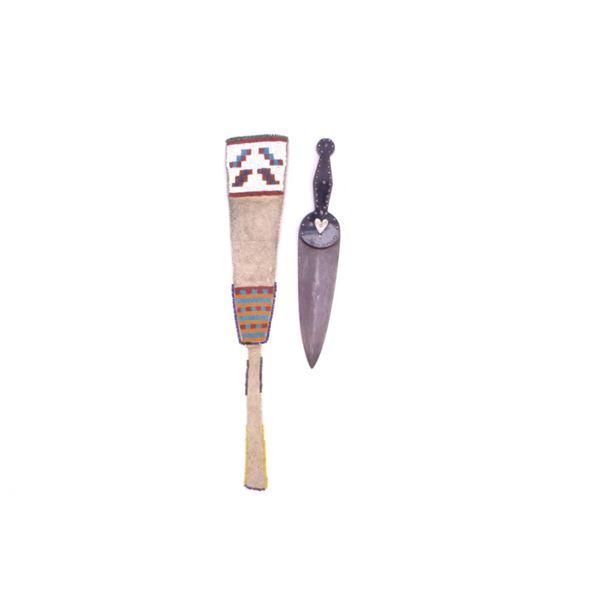 American Indian Sorby Dag Knife & Sheath 19th C.