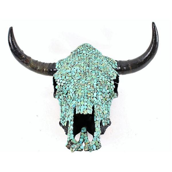 Navajo Kingman Turquoise Covered Steer Skull